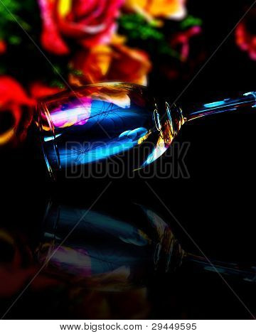 Wine glass with flowers full Color