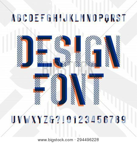 Design Alphabet Font. Modern Geometric Letters And Numbers On Bright Background. Vector Typescript F
