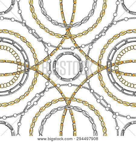 Chain Rings Hand Drawn Vector Seamless Pattern. Glamour Ornate Texture. Golden And Silver Chainlet O