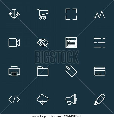 Interface Icons Line Style Set With Printer, Label, Card And Other Tag Elements. Isolated Vector Ill