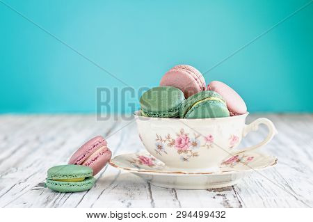 Bavaria Winterling Footed Tea Cup Filled With Macarons