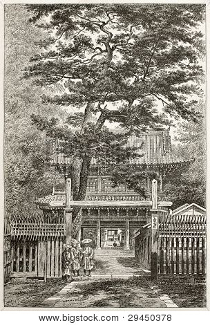 Tosen ji old view, British legation seat in Yedo (Tokyo). Created by Lancelot after photo by unknown author, published on Le Tour du Monde, Paris, 1867