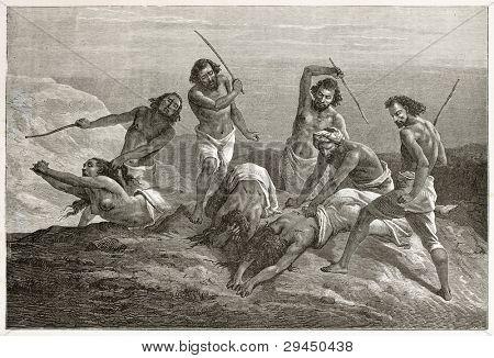 Abyssinian men punishing women. Created by Bayard after Lejean, published on Le Tour du Monde, Paris, 1867