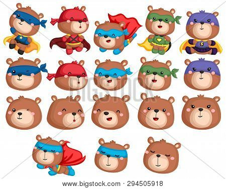 A Vector Collection Of A Bear In Superhero Costume