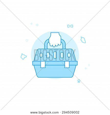 Pet Carrier Flat Vector Icon. Pet And Pet Supply Illustration. Light Flat Style. Blue Monochrome Des