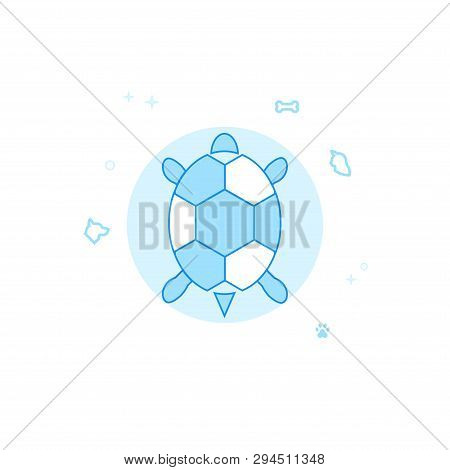 Pet Turtle Top View Flat Vector Icon. Pet And Pet Supply Illustration. Light Flat Style. Blue Monoch