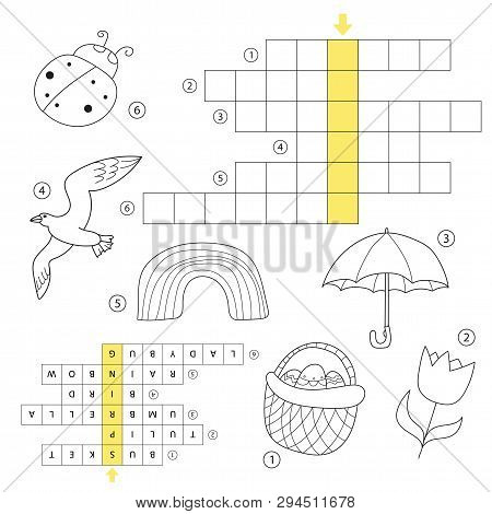 Crossword Educational Children Game With Answer. Learning Spring Theme Puzzle. Coloring Book For Chi