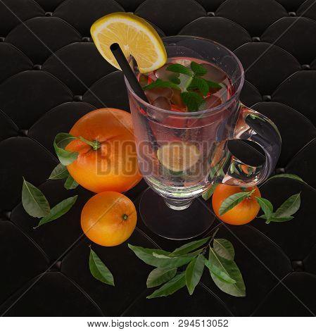 Iced Tea With Mint, Lemon And Ice. 3d-illustration