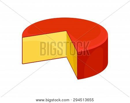 Gouda Cheese On White Background. Vector Illustration.