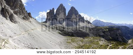 Panoramic View Of The Three Cime Of Lavaredo On The National Park Sexten Dolomites (italy)