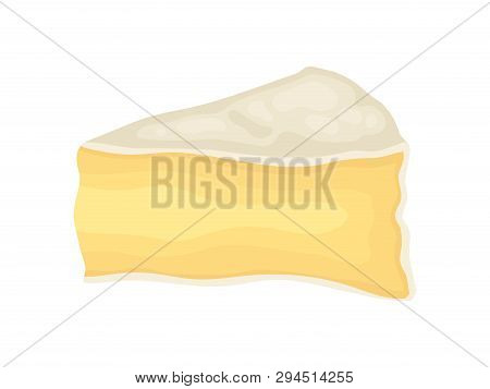 Brie Cheese On White Background. Vector Illustration.