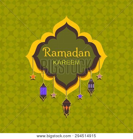 Colorful Postcard Design For The Holy Month Of Muslim Community Festival Ramadan Karim With Arabic L