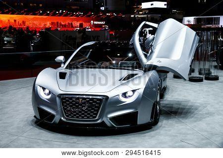 Geneva, Switzerland - March 10, 2019: Electric Sportscar Hispano Suiza Carmen Presented At The Annua