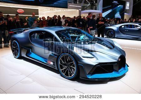 Geneva, Switzerland - March 10, 2019: Luxury Hypercar Bugatti Divo Presented At The Annual Geneva In