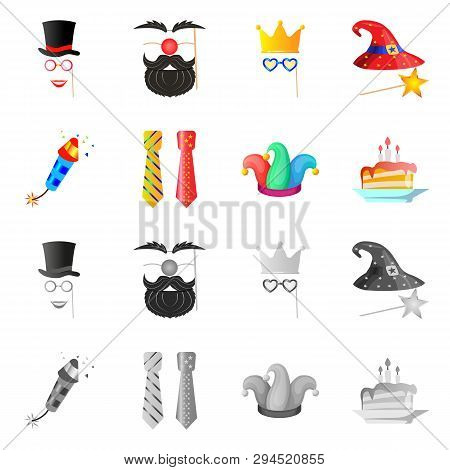Vector Design Of Party And Birthday Symbol. Set Of Party And Celebration Stock Symbol For Web.