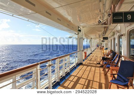 Fort Lauderdale, Usa - February 17, 2014 : Crown Princess Ship Sails To Caribbean. View Of Open Deck