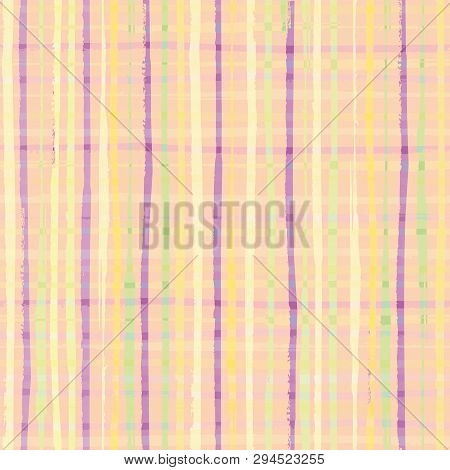 Modern Checkwork Seamless Vector Pattern. Checkered Pastel Yellow, Purple And Green Design With Hand
