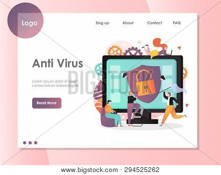 Anti Virus Vector Website Landing Page Design Template