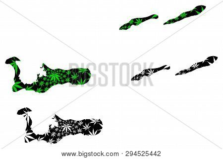 Cayman Islands - Map Is Designed Cannabis Leaf Green And Black, Grand Cayman, Cayman Brac And Little