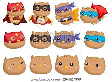 A Vector Collection Of Owl Wearing Superhero Costume