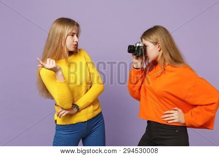 Two Stunning Young Blonde Twins Sisters Girls In Colorful Clothes Taking Pictures On Retro Vintage P