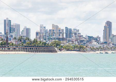 View Of Praia De Tambau Beach And The City On Background At Joao Pessoa Pb Brazil. Touristic Beach O