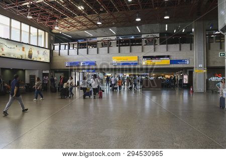 Guarulhos - Sp, Brazil - February 20, 2019: Gru Airport, People Walking Inside The Airport Waiting F