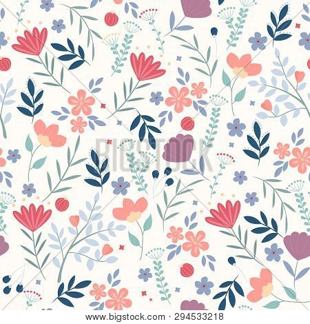 Vector Floral Pattern In Doodle Style With Flowers And Leaves On White Background. Gentle, Spring Fl