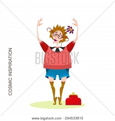 Cartoon Character Traveler On A Walk Or Picnic. An Adult Woman Posing Without Shoes On Tiptoe With G