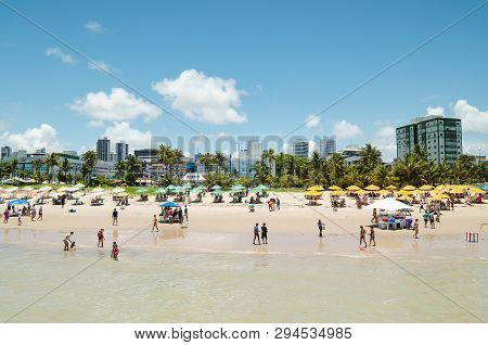 Joao Pessoa - Pb, Brazil - February 24, 2019: View Of Praia De Tambau Beach And The City On Backgrou