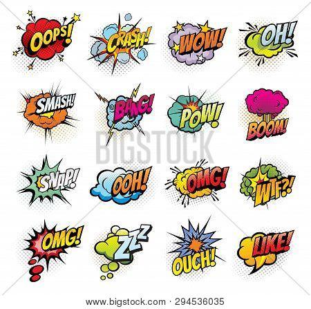 Comic Book Bubbles And Sound Blasts Icons. Vector Cartoon Pop Art Bubbles Of Oops, Crash Or Bang Sou