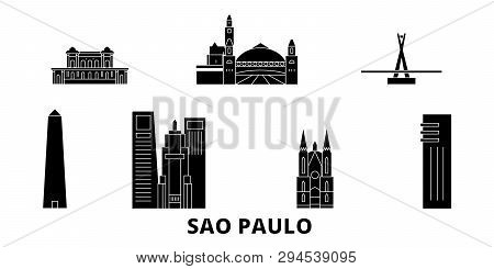 Brazil, Sao Paulo flat travel skyline set. Brazil, Sao Paulo black city vector illustration, symbol, travel sights, landmarks. poster