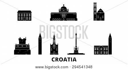Croatia Flat Travel Skyline Set. Croatia Black City Vector Illustration, Symbol, Travel Sights, Land