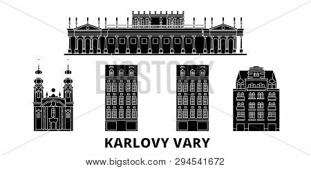 Czech Republic, Karlovy Vary Flat Travel Skyline Set. Czech Republic, Karlovy Vary Black City Vector