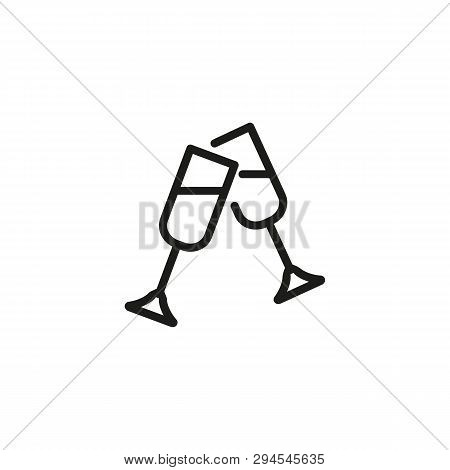 Clinking Glasses Line Icon. Celebratory Toast, Anniversary, Champagne. Celebration Concept. Vector I
