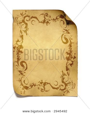 Aged Paper With Golden Pattern