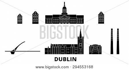 Irland, Dublin Flat Travel Skyline Set. Irland, Dublin Black City Vector Illustration, Symbol, Trave