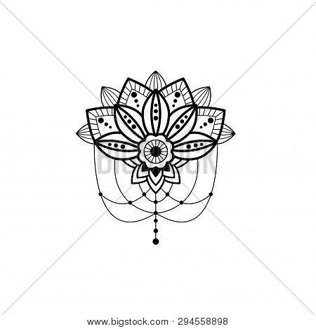Mehendi Mandala Design Flower With Hanging Pendent Details Vector Cutout Illustration. Tattoo Henna