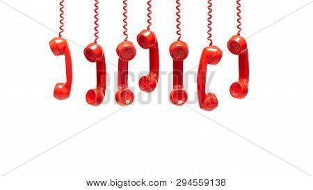 Various Views Of Old Red Telephone Receivers Isolated On White Background With Texting Space, Hangin