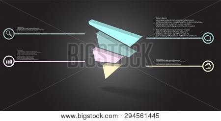 3D Illustration Infographic Template With Embossed Triangle Randomly Divided To Four Shifted Parts