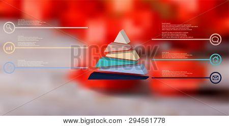 3d Illustration Infographic Template. The Embossed Triangle Is Randomly Divided To Six Color Shifted