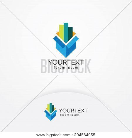 Business & Finance Logo, Vectors Of An Open Box With A Diagram Grow Up, Finance Vector Logo Template