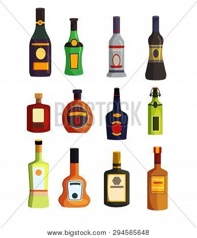 Alcoholic Beverages Set. Hard Liquor Bottles Collection. Can Be Used For Topics Like Alcohol Store,