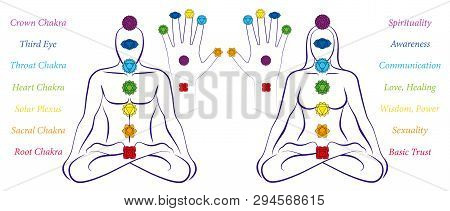 Body And Hand Chakras Of A Man And Woman - Illustration Of A Meditating Couple In Yoga Position With