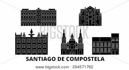 Spain, Santiago De Compostela Flat Travel Skyline Set. Spain, Santiago De Compostela Black City Vect
