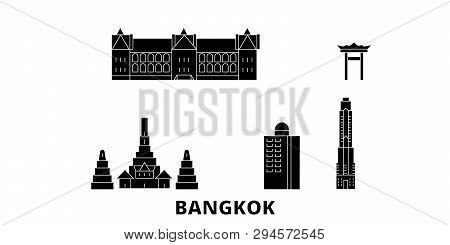 Thailand, Bangkok City Flat Travel Skyline Set. Thailand, Bangkok City Black City Vector Illustratio