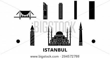 Turkey, Istanbul Flat Travel Skyline Set. Turkey, Istanbul Black City Vector Illustration, Symbol, T