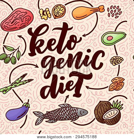 Sketch Lettering With Green Keto Diet Doodle Elements For Concept Design. Seamless Pattern. Hand Dra
