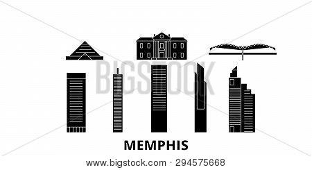 United States, Memphis Flat Travel Skyline Set. United States, Memphis Black City Vector Illustratio