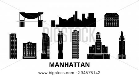United States, New York Manhattan Flat Travel Skyline Set. United States, New York Manhattan Black C